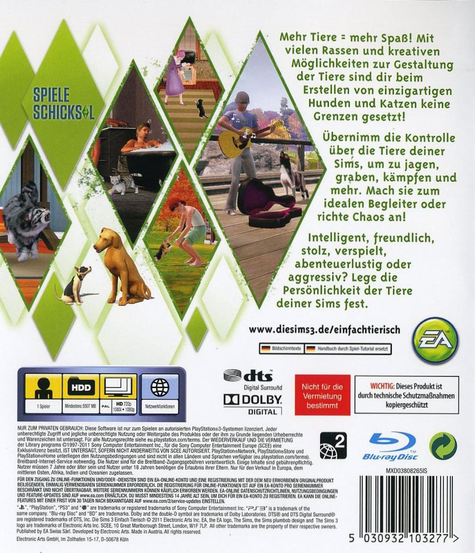 The Sims 3: Einfach Tierisch PS3 backHQ (BLES01368)