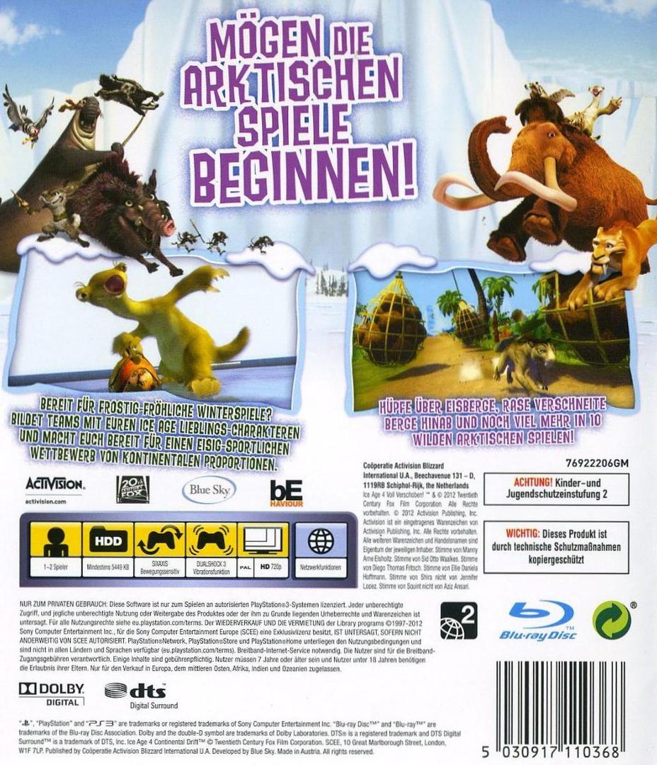 Ice Age 4: Voll Verschoben - Die Arktischen Spiele PS3 backHQ (BLES01686)