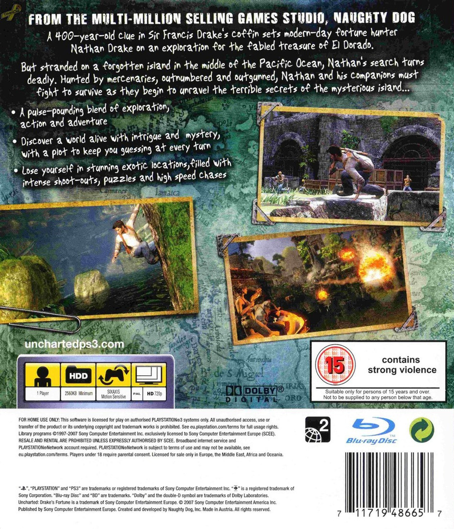 Uncharted: Drake's Fortune PS3 backHQ (BCES00065)