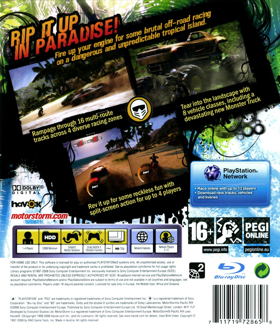 MotorStorm: Pacific Rift PS3 backHQ (BCES00129)