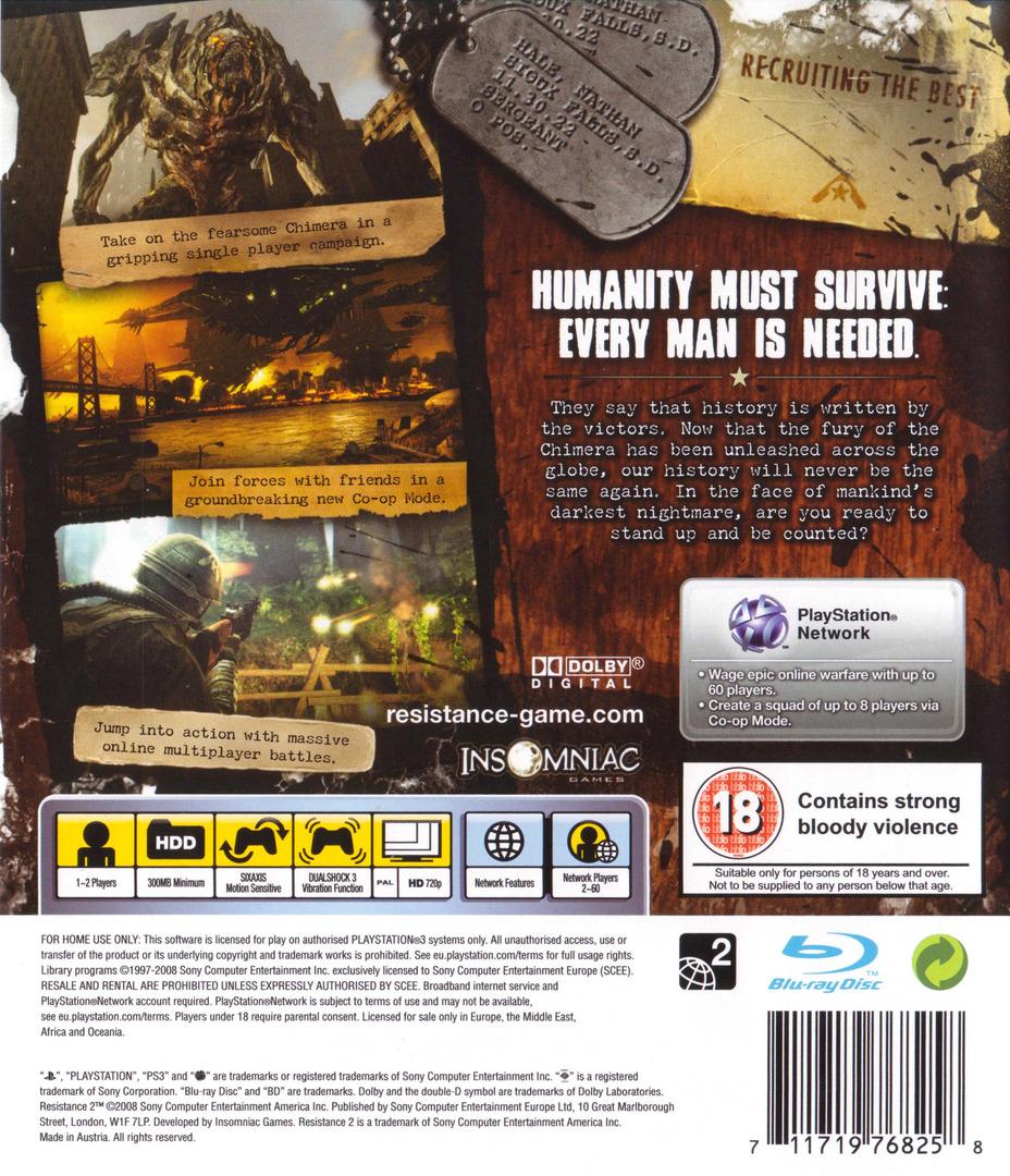 Resistance 2 PS3 backHQ (BCES00226)