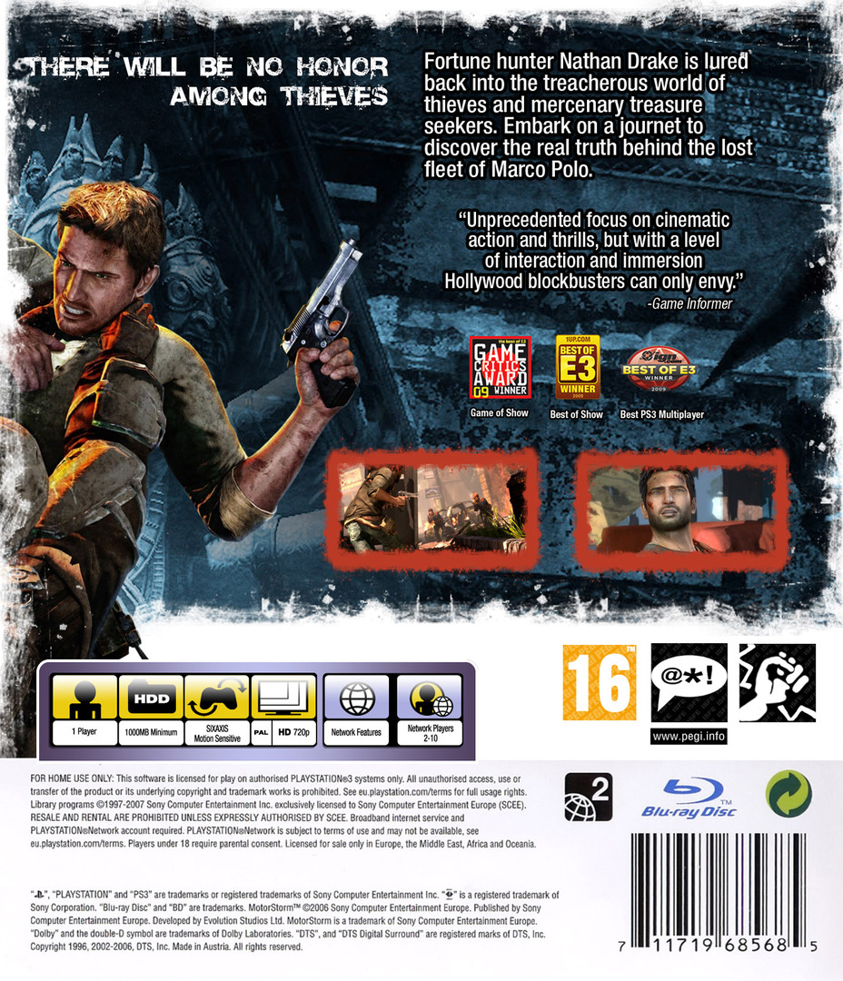 Uncharted 2: Among Thieves PS3 backHQ (BCES00509)