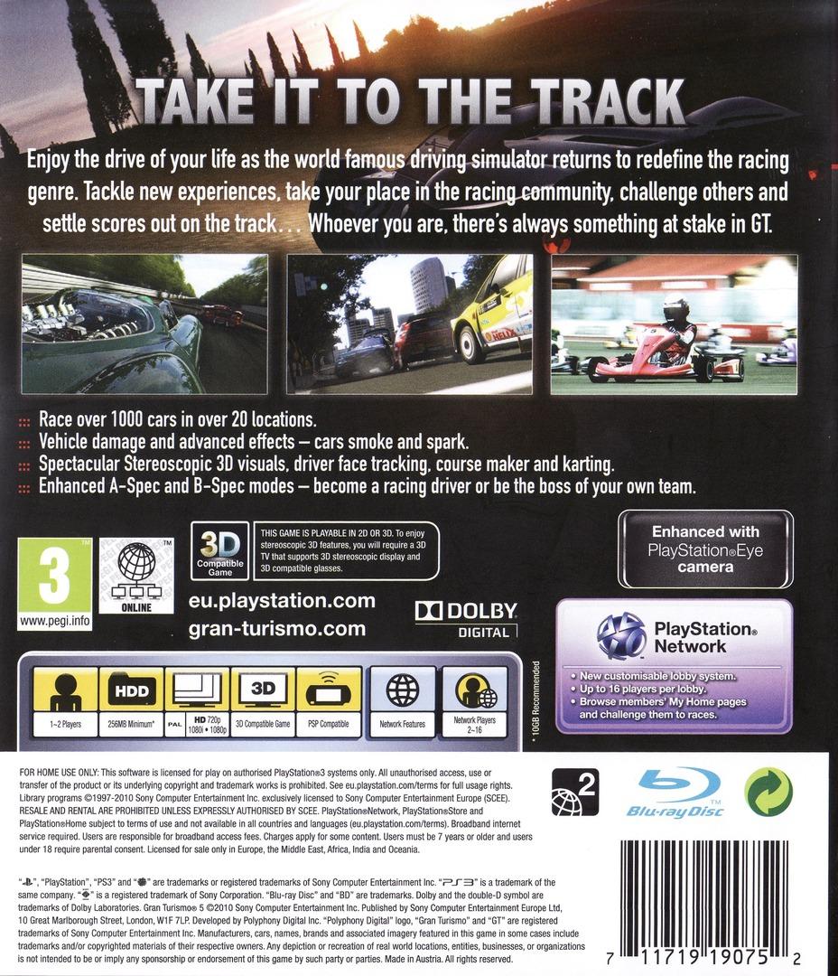 Gran Turismo 5 PS3 backHQ (BCES00569)