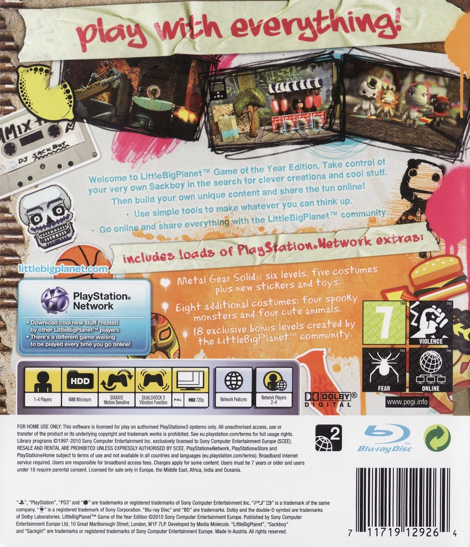 LittleBigPlanet (Game of the Year Edition) PS3 backHQ (BCES00611)