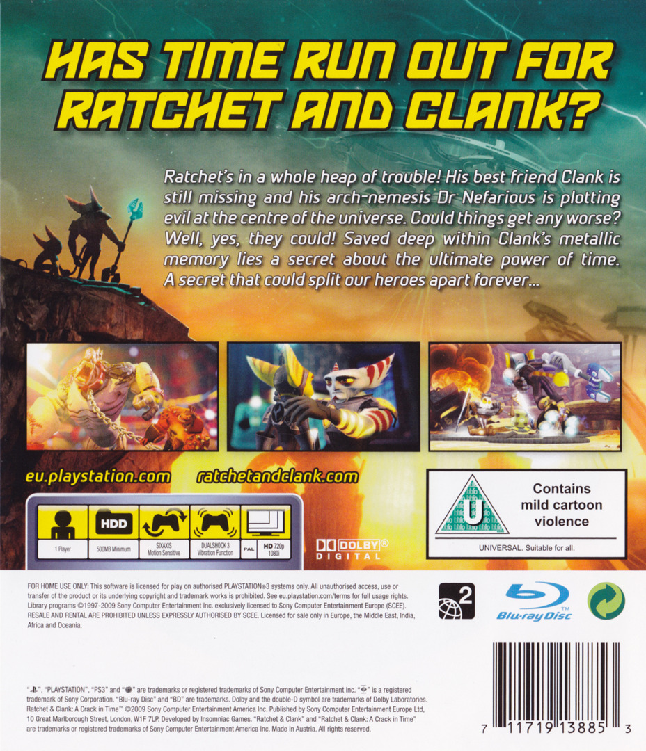 Ratchet & Clank: A Crack in Time PS3 backHQ (BCES00726)
