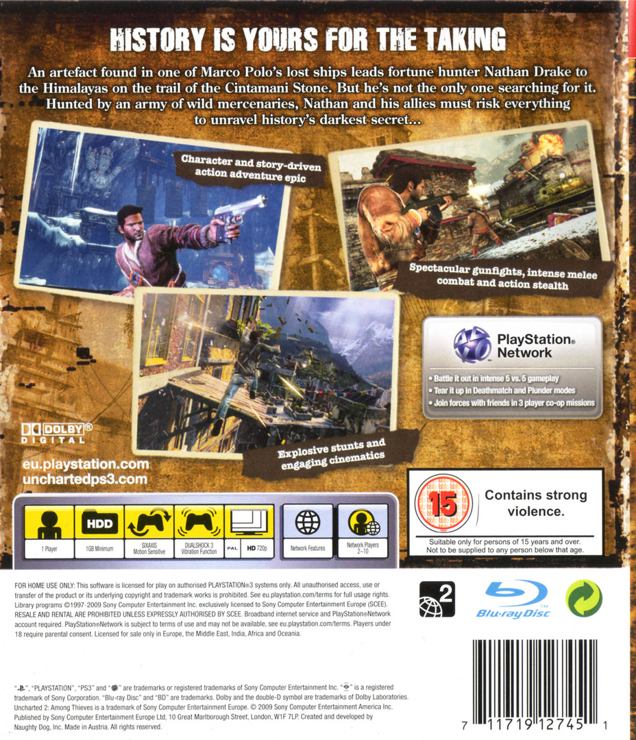 Uncharted 2: Among Thieves PS3 backHQ (BCES00727)