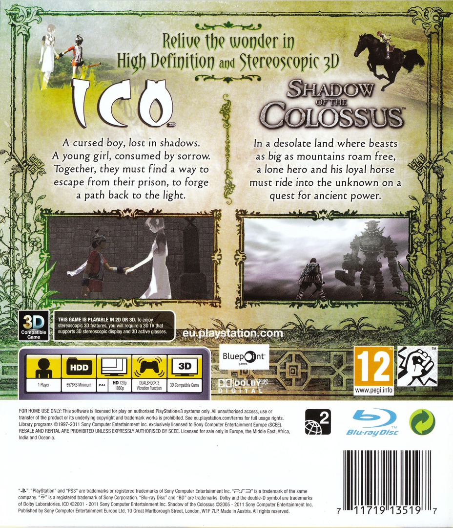 The ICO & Shadow of the Colossus Collection PS3 backHQ (BCES01115)