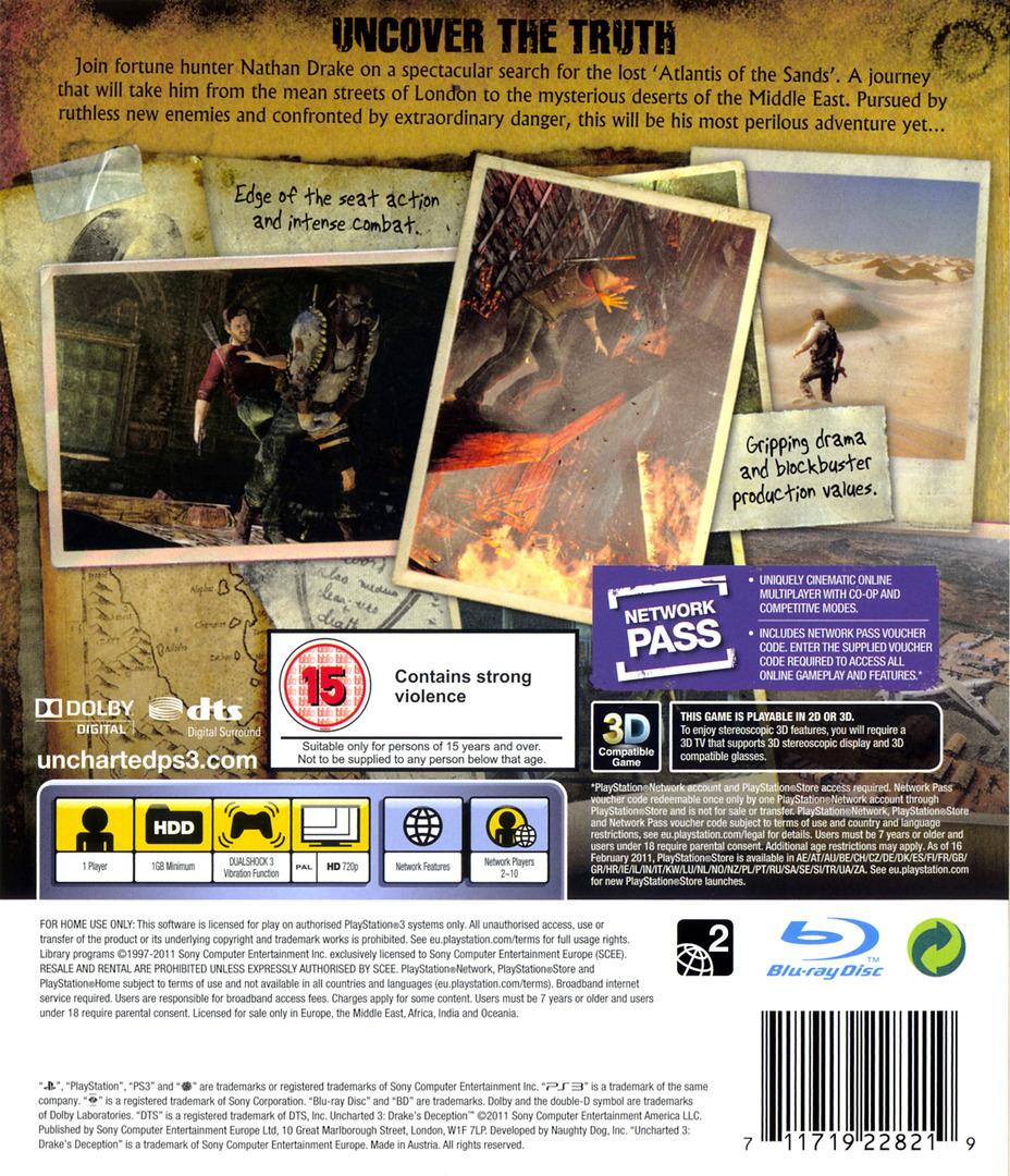 Uncharted 3: Drake's Deception PS3 backHQ (BCES01176)