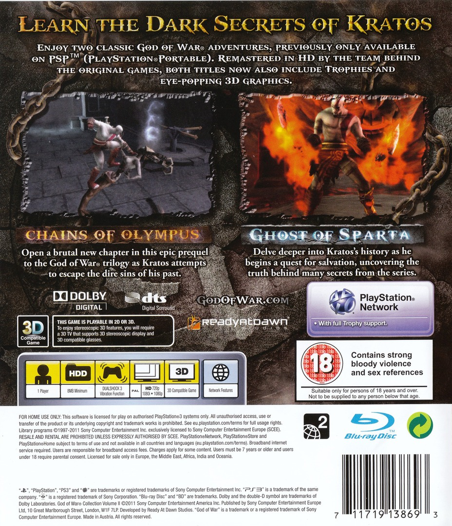 God of War Collection Volume II PS3 backHQ (BCES01278)