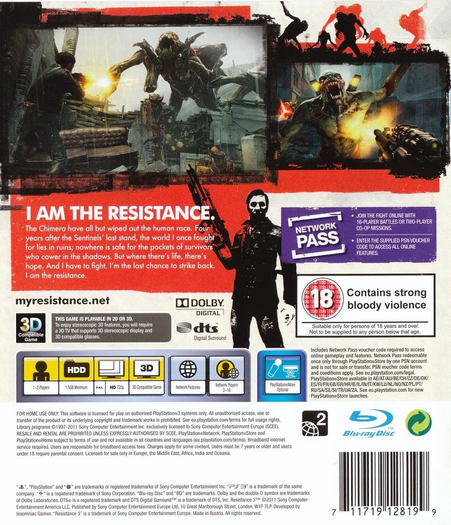 Resistance 3 PS3 backHQ (BCES01353)