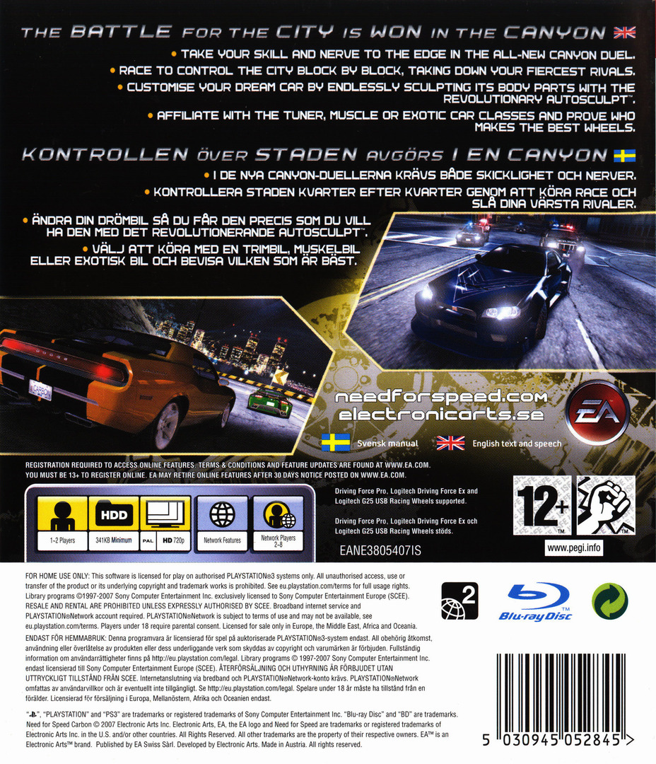 Need for Speed: Carbon PS3 backHQ (BLES00020)