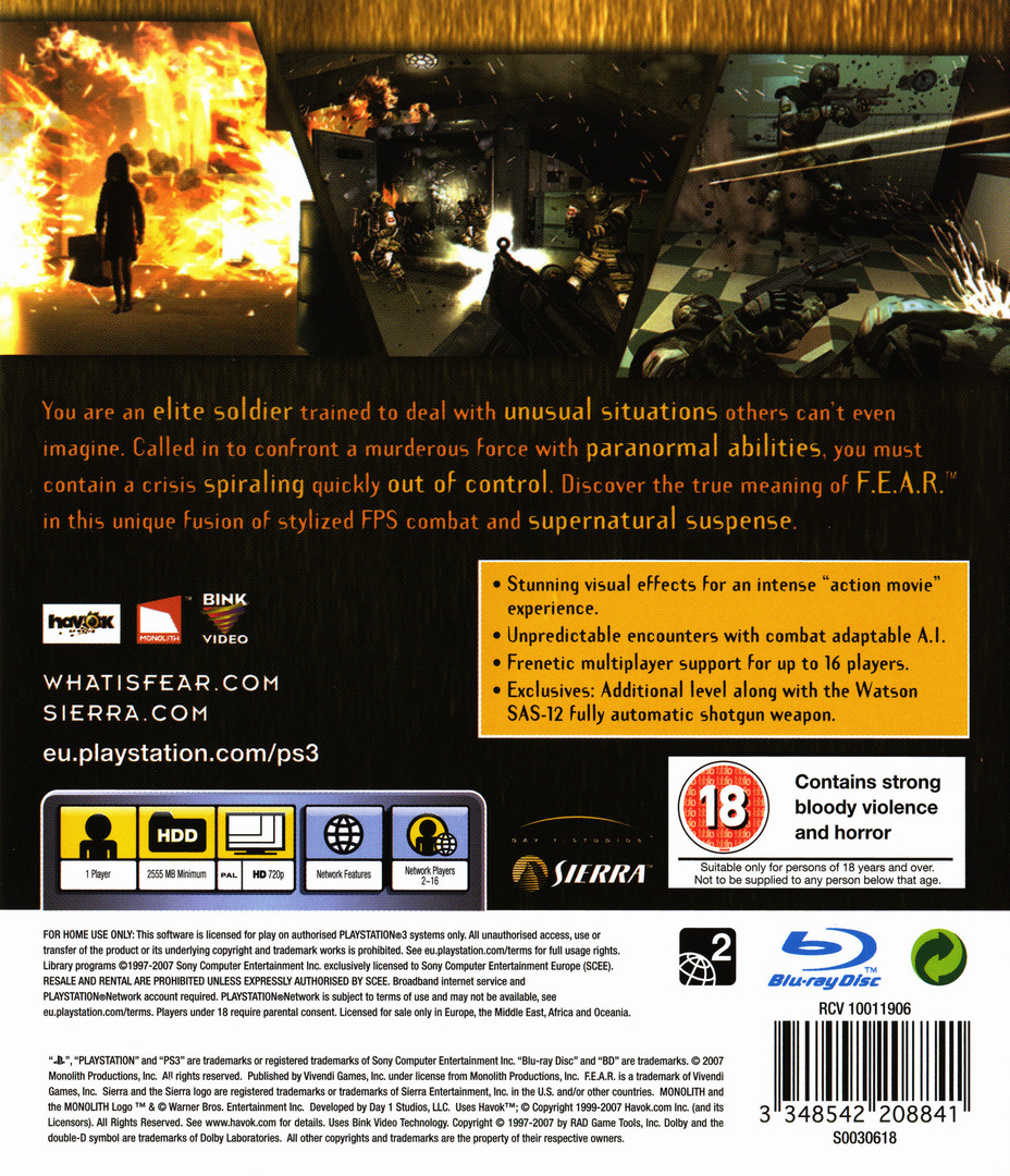 F.E.A.R.: First Encounter Assault Recon PS3 backHQ (BLES00035)