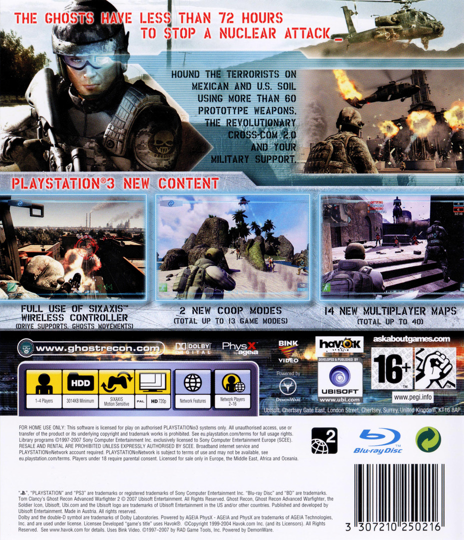 Tom Clancy's Ghost Recon: Advanced Warfighter 2 PS3 backHQ (BLES00067)