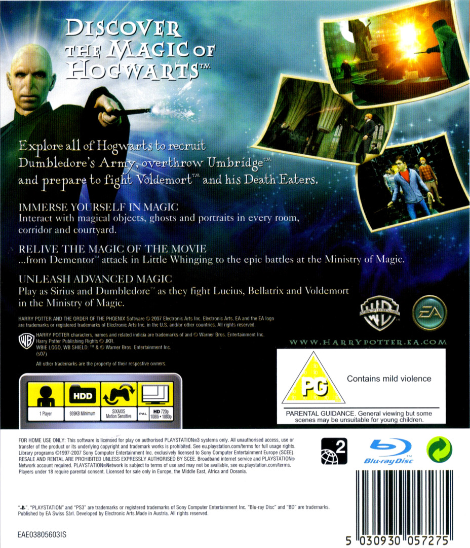 Harry Potter and the Order of the Phoenix PS3 backHQ (BLES00070)
