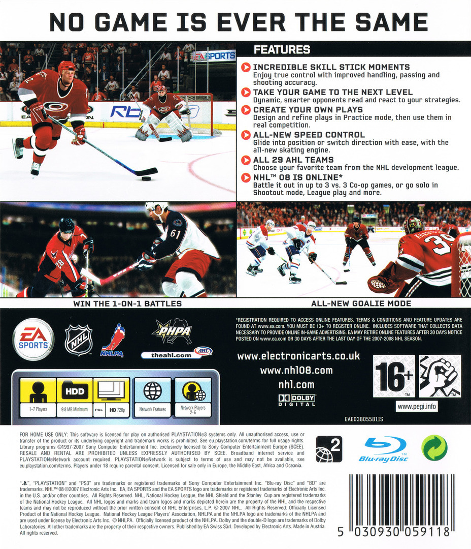 NHL 08 PS3 backHQ (BLES00118)