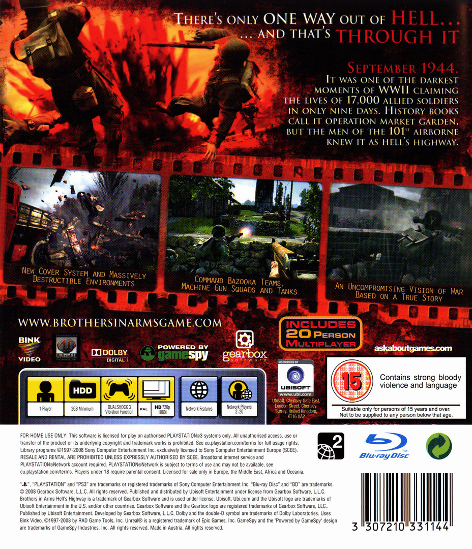 Brothers in Arms: Hell's Highway PS3 backHQ (BLES00318)