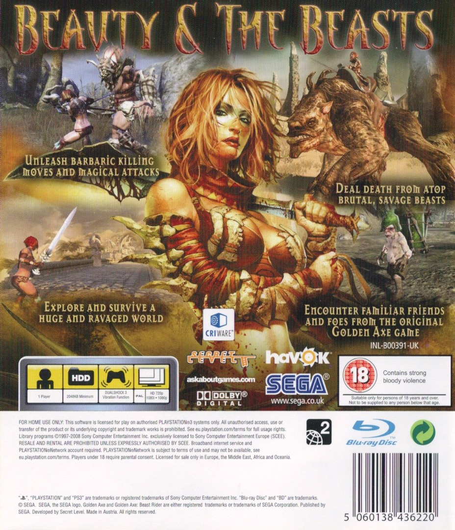 Golden Axe: Beast Rider PS3 backHQ (BLES00391)