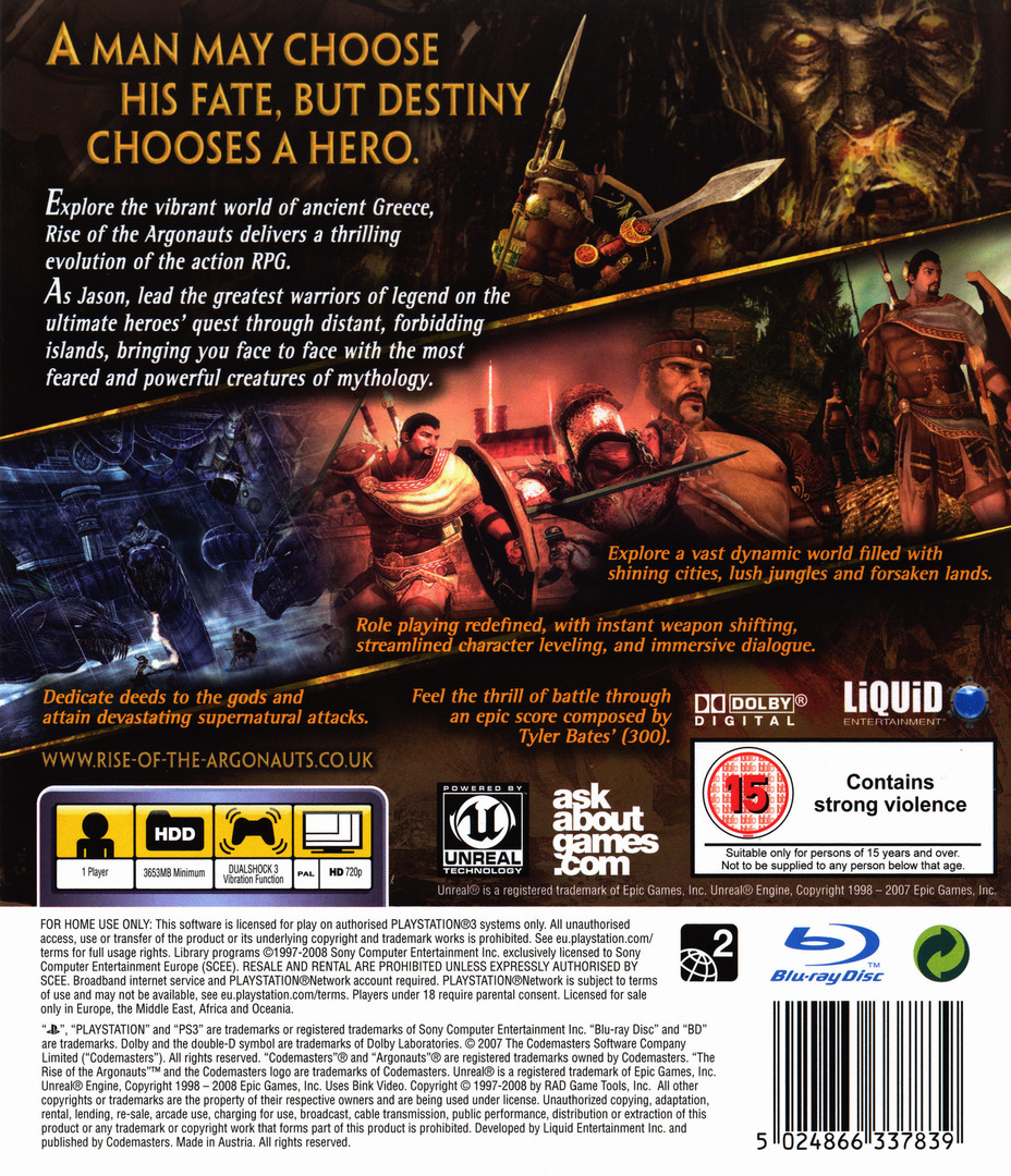 Rise of the Argonauts PS3 backHQ (BLES00418)