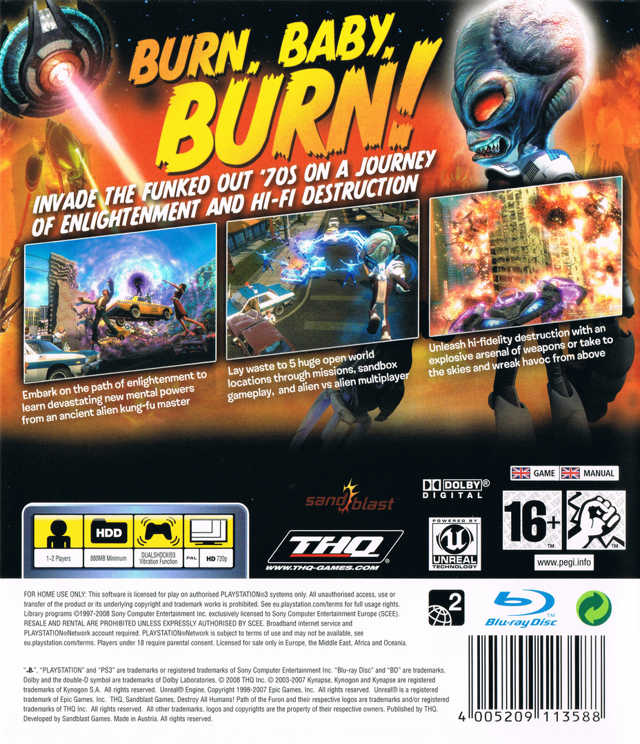Destroy All Humans! Path of the Furon PS3 backHQ (BLES00467)