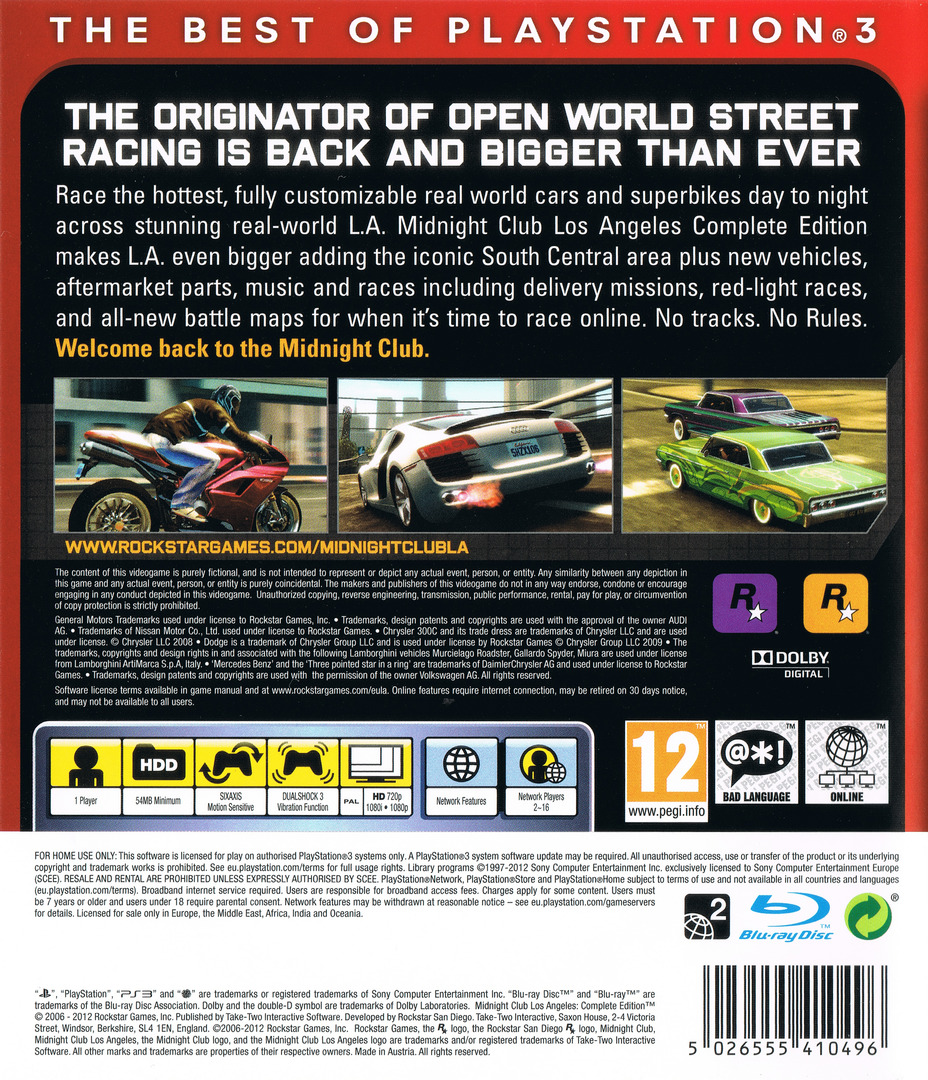 Midnight Club: Los Angeles - Complete Edition PS3 backHQ (BLES00652)