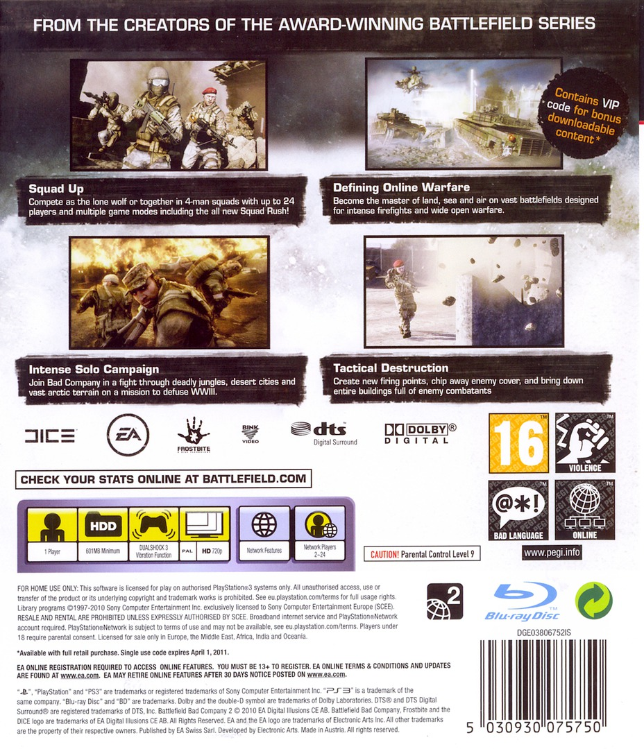 Battlefield: Bad Company 2 PS3 backHQ (BLES00773)