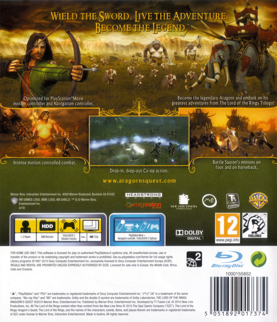The Lord of the Rings: Aragorn's Quest PS3 backHQ (BLES00998)