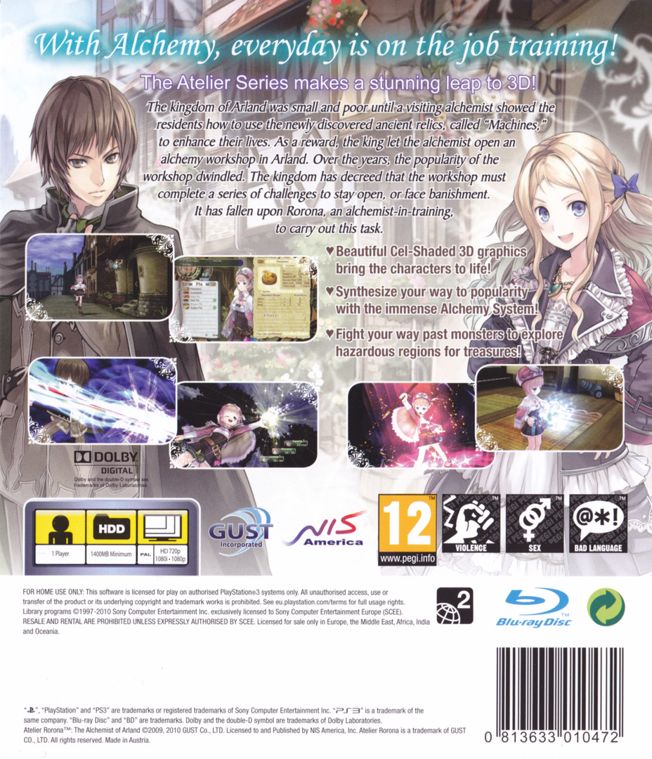 Atelier Rorona: The Alchemist of Arland PS3 backHQ (BLES01030)