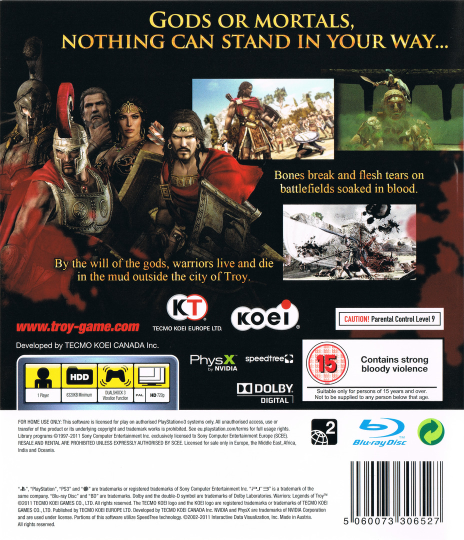 Warriors: Legends of Troy PS3 backHQ (BLES01183)