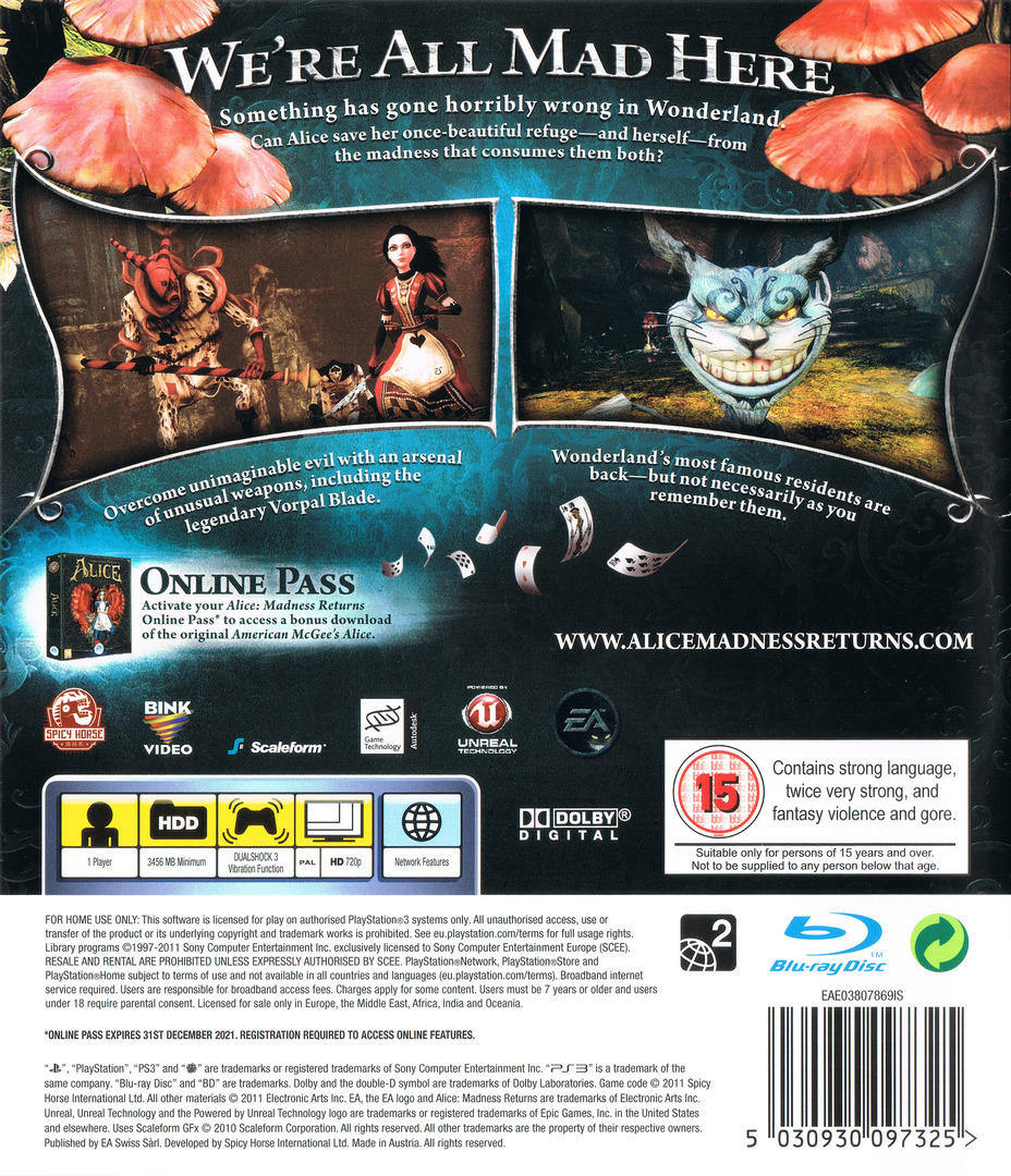 Alice: Madness Returns PS3 backHQ (BLES01265)