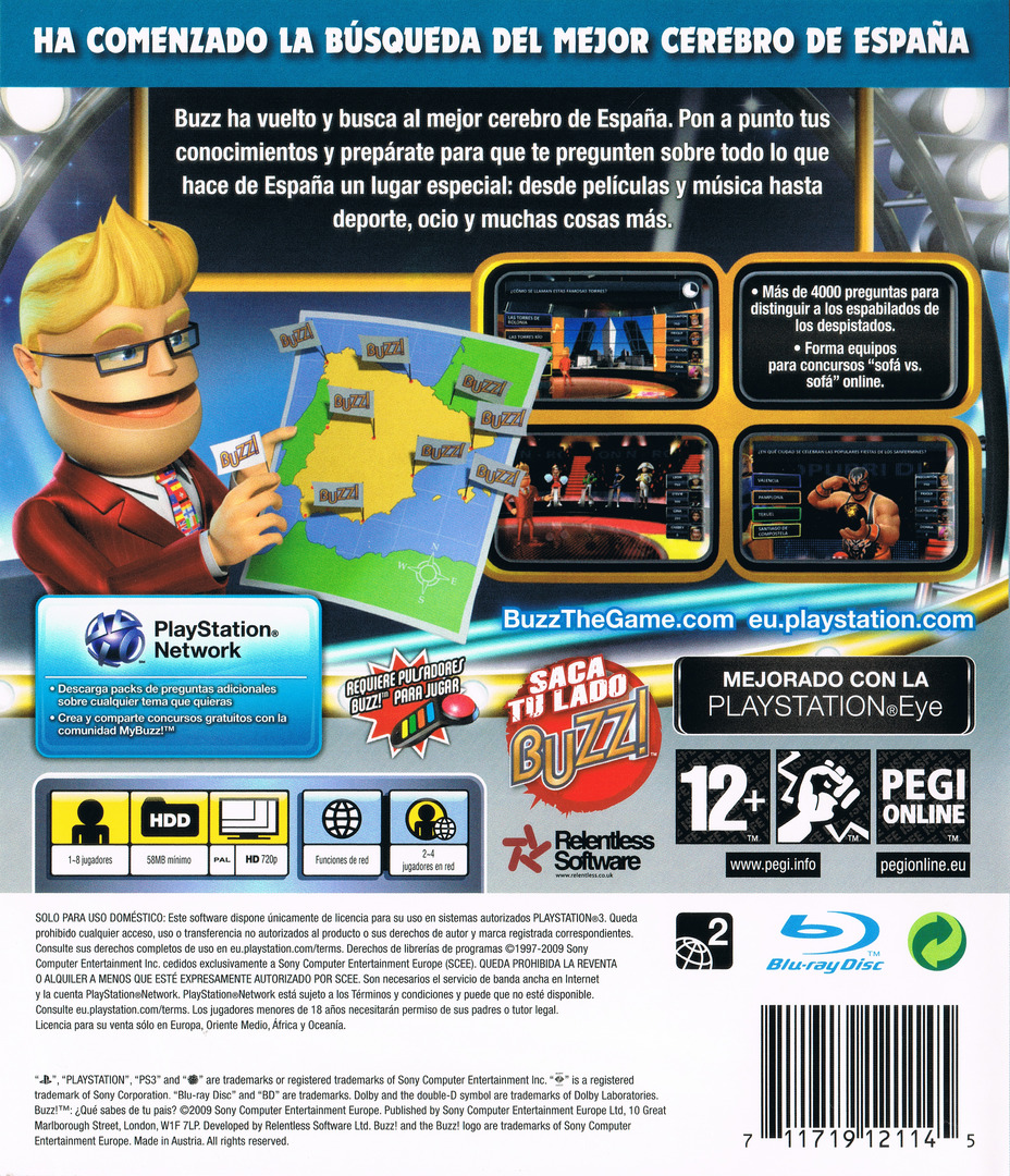 Buzz! ¿Qué sabes de tu País? PS3 backHQ (BCES00351)