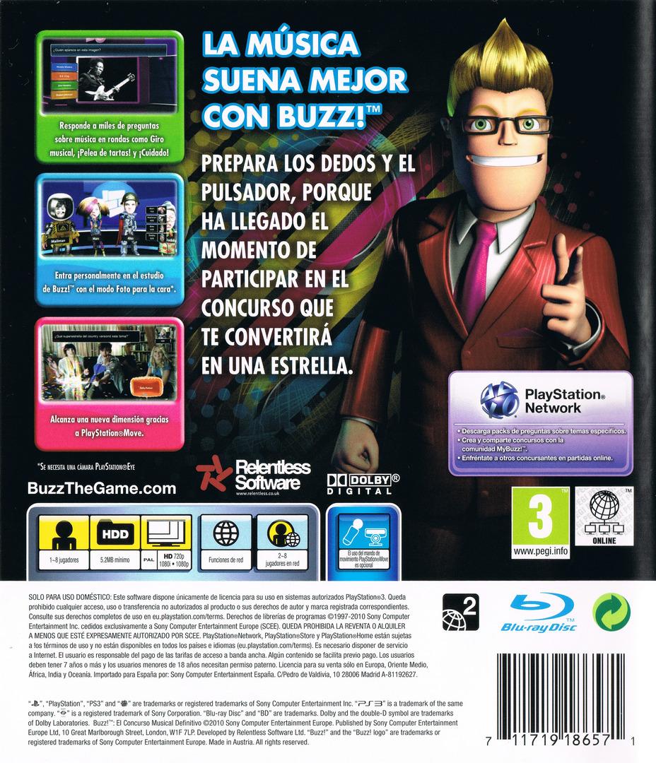 Buzz! El Concurso Musical Definitivo PS3 backHQ (BCES00830)