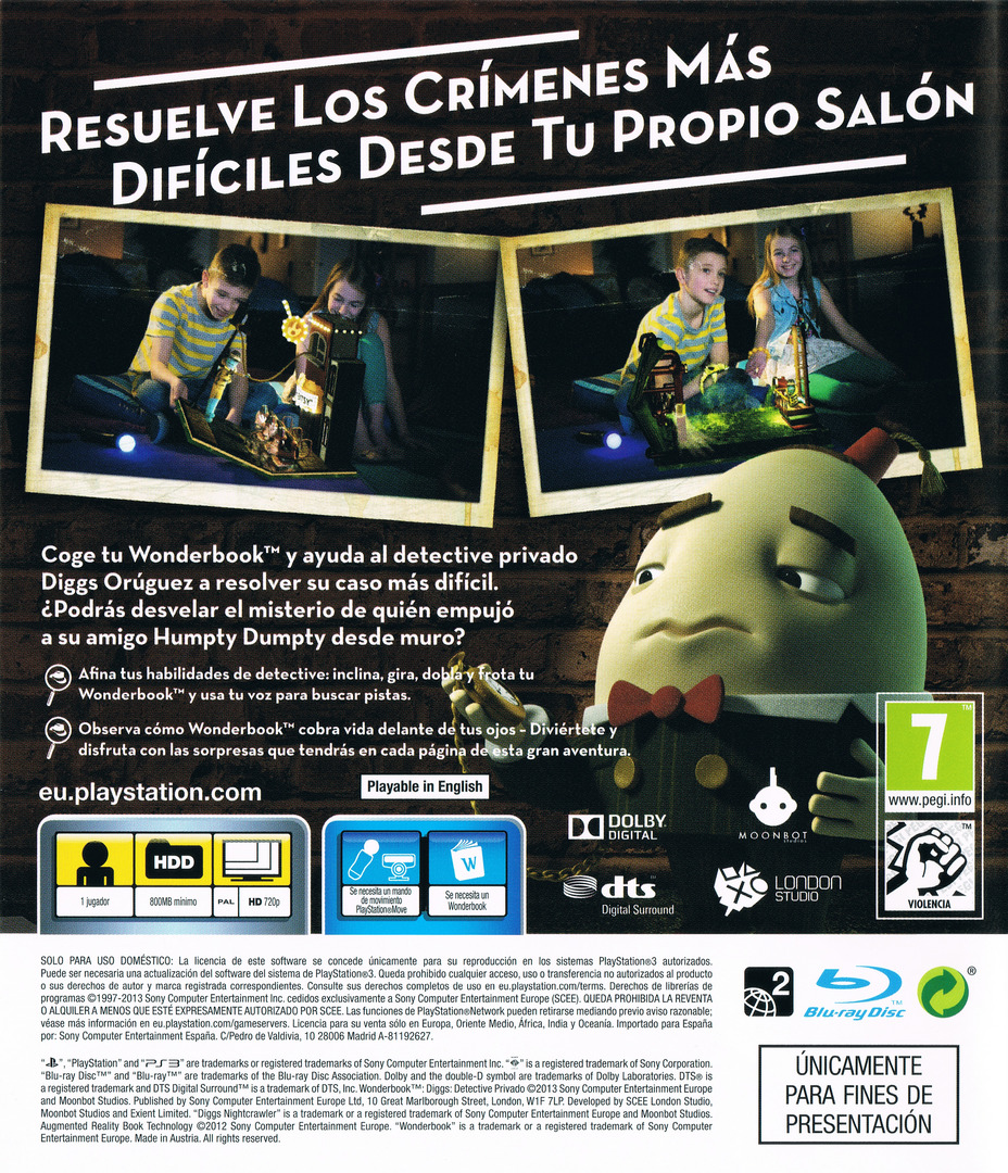 Wonderbook Diggs: Detective Privado PS3 backHQ (BCES01725)