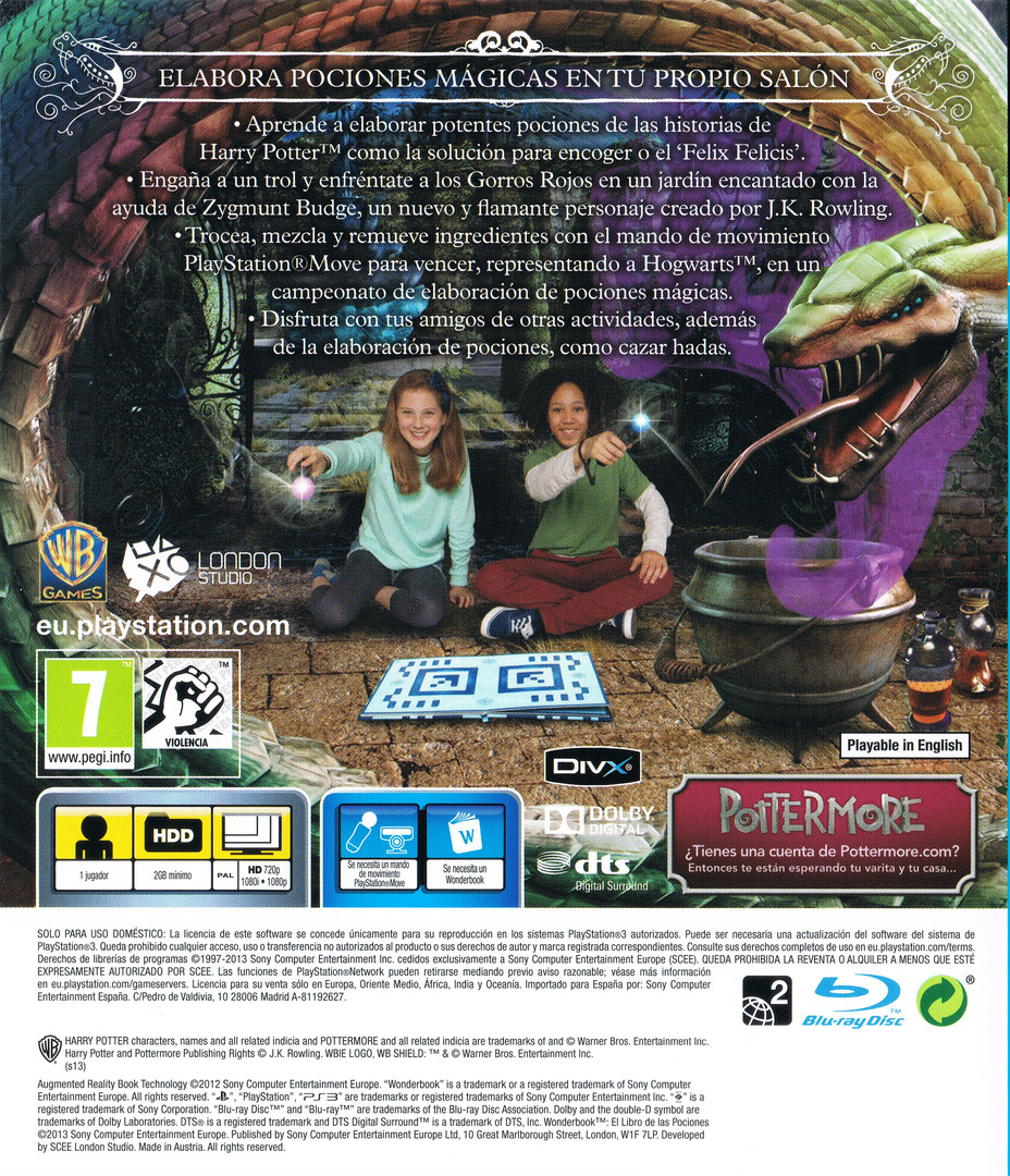 Wonderbook: El Libro de las Pociones PS3 backHQ (BCES01866)