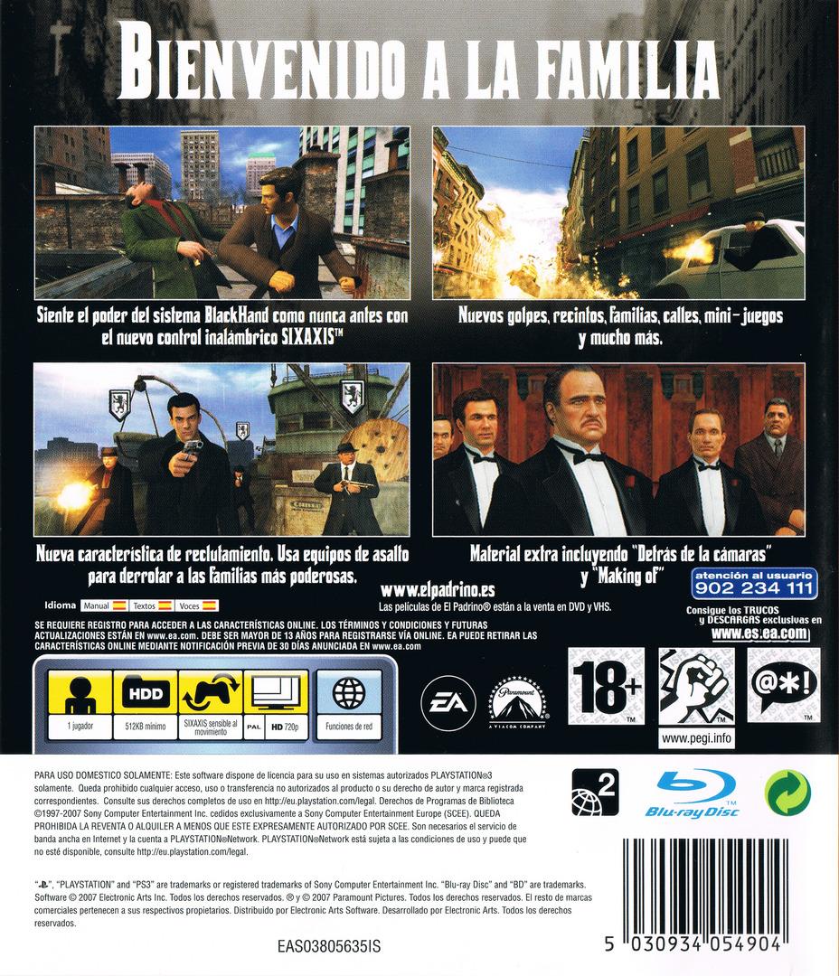 El Padrino:Don Corleone PS3 backHQ (BLES00047)