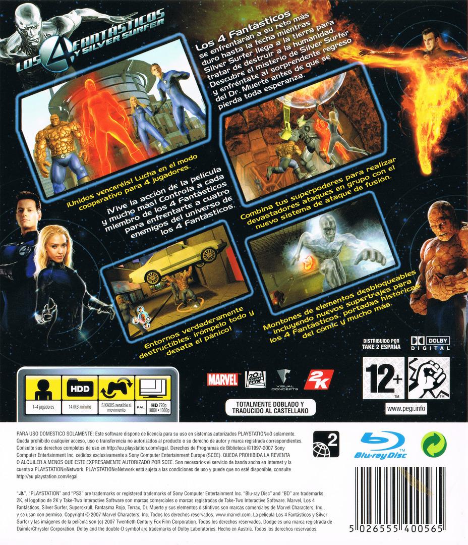Los 4 Fantásticos y Silver Surfer PS3 backHQ (BLES00075)