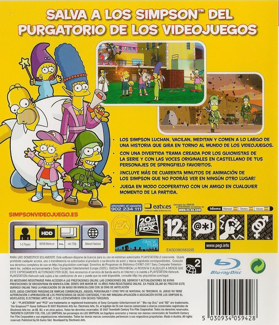 Los Simpsons: El Videojuego PS3 backHQ (BLES00142)