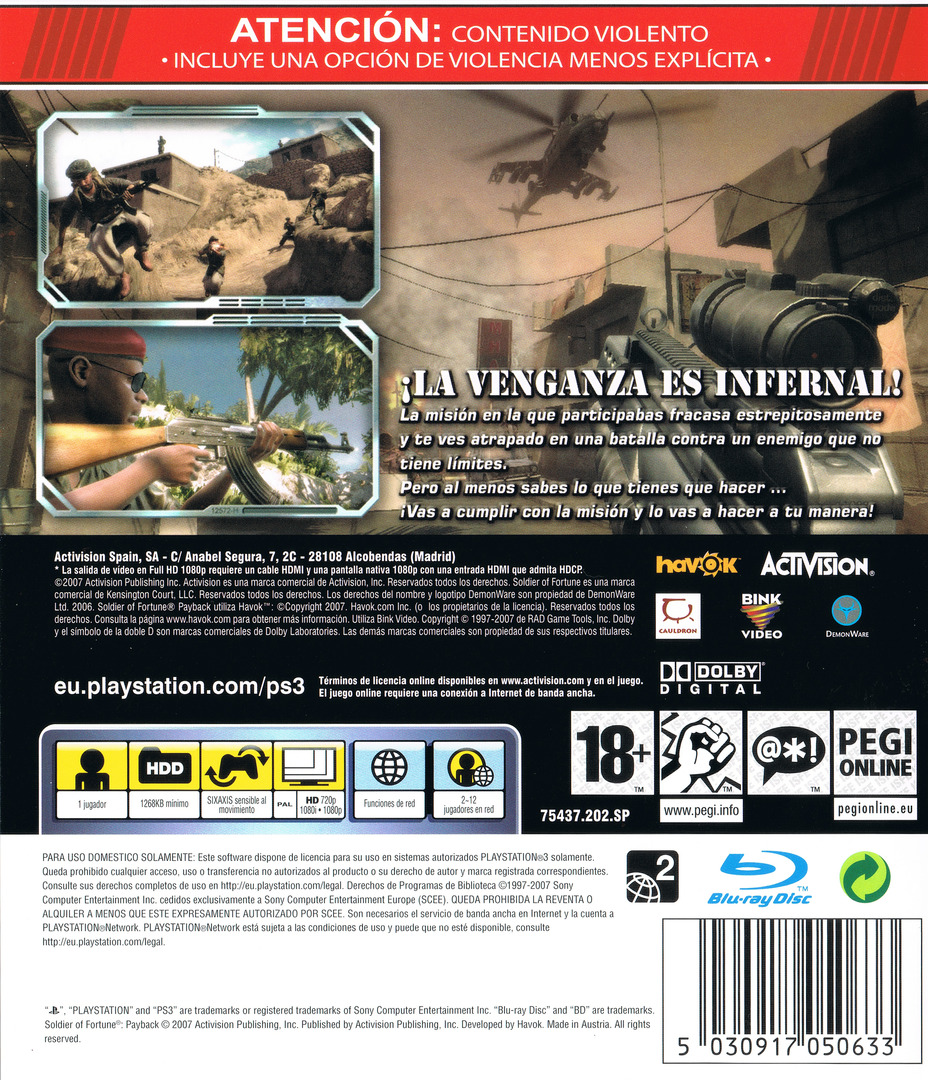 Soldier of Fortune: Venganza PS3 backHQ (BLES00189)