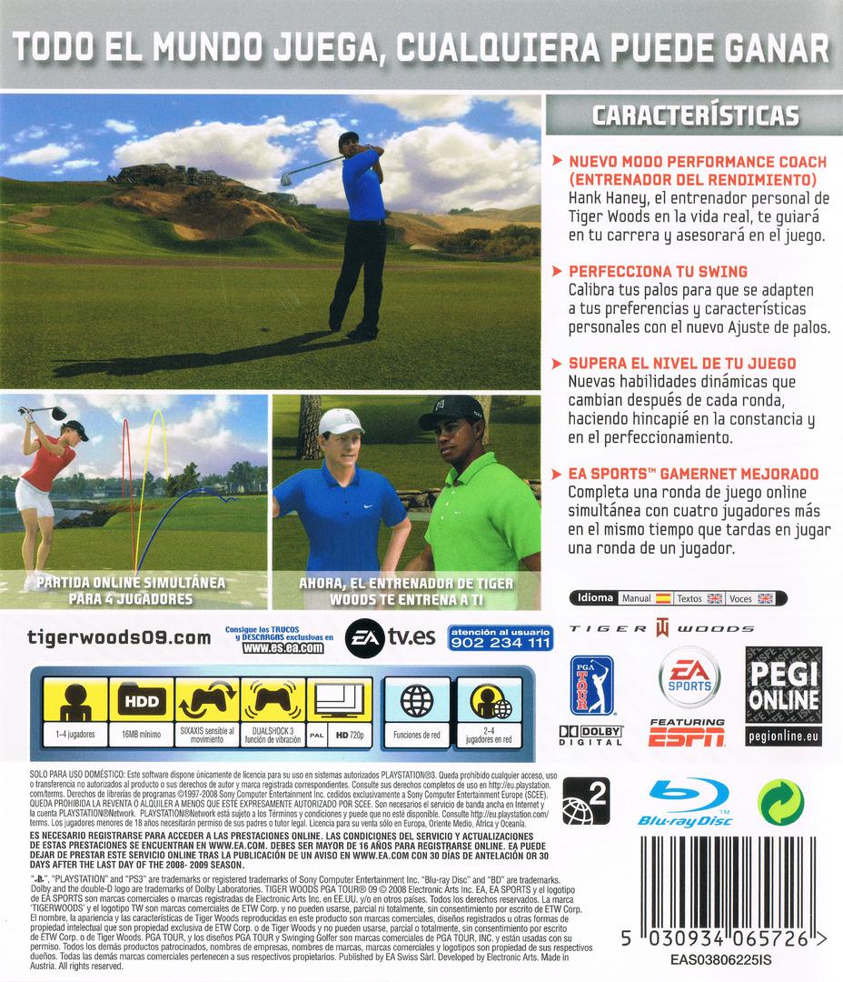 Tiger Woods PGA Tour 09 PS3 backHQ (BLES00295)