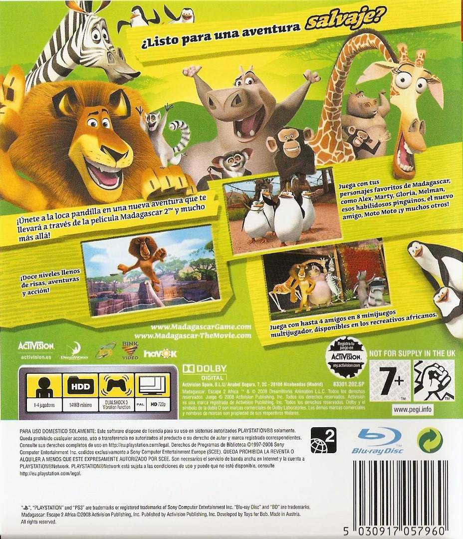 Madagascar 2 PS3 backHQ (BLES00394)