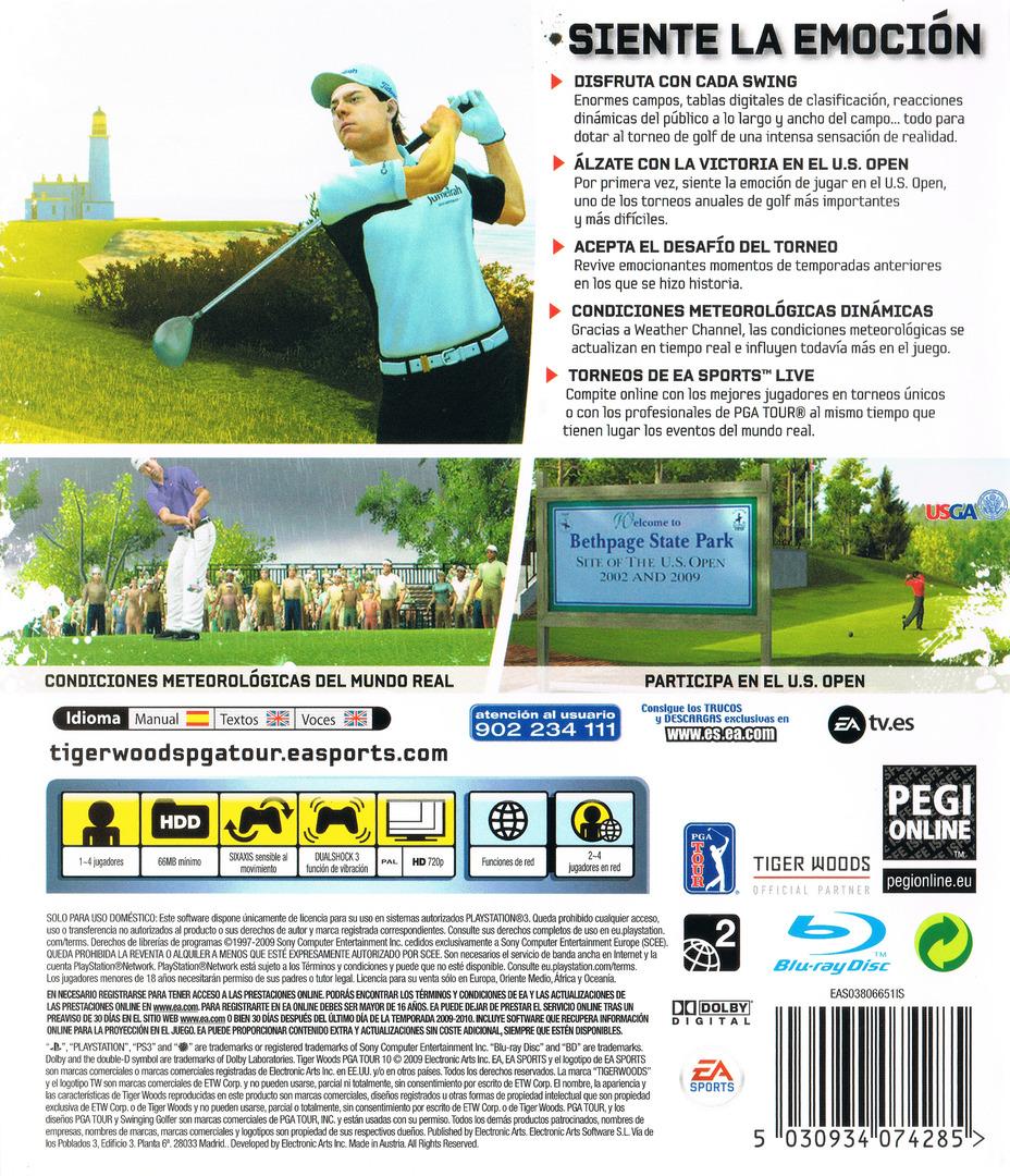 Tiger Woods PGA Tour 10 PS3 backHQ (BLES00530)