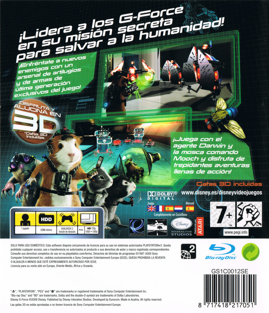 G-Force: Licencia para Espiar PS3 backHQ (BLES00572)