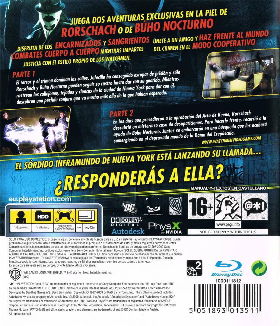 Watchmen: El Fin Está Cerca - Partes 1 y 2 PS3 backHQ (BLES00605)
