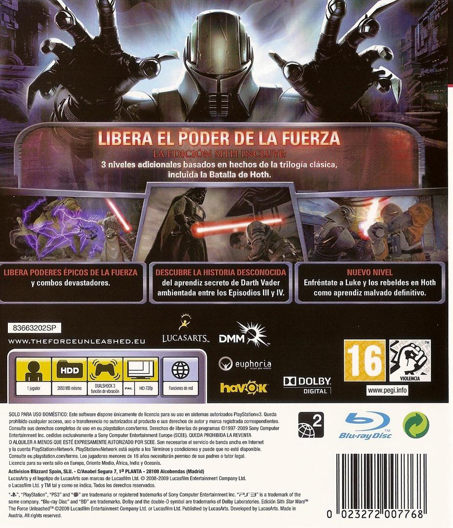 Star Wars: El Poder de la Fuerza: Edición Sith PS3 backHQ (BLES00678)