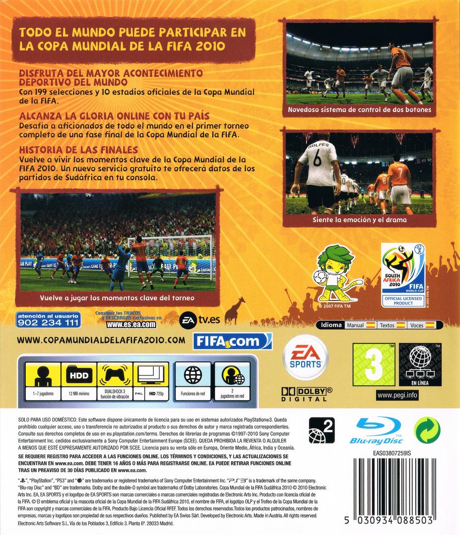 Copa Mundial de la Fifa Sudáfrica 2010 PS3 backHQ (BLES00796)