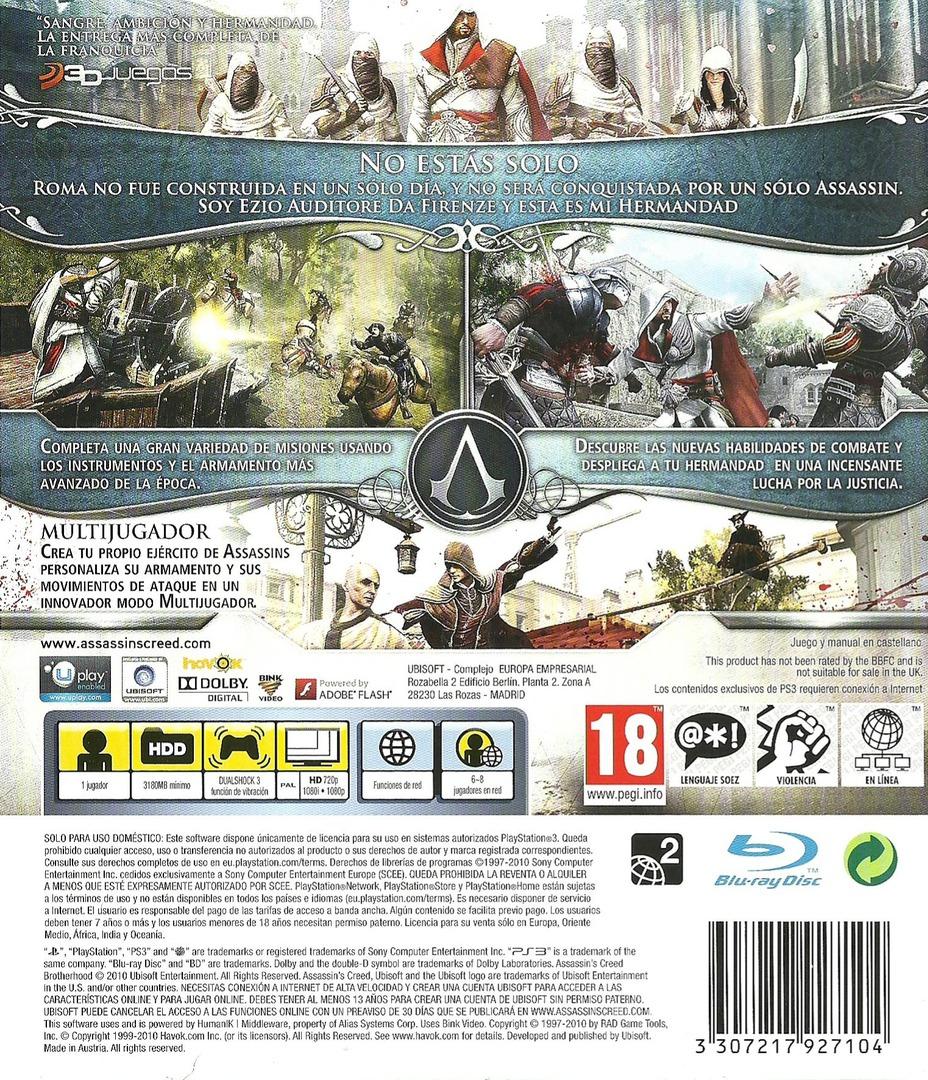 Assassin's Creed: La Hermandad PS3 backHQ (BLES00909)