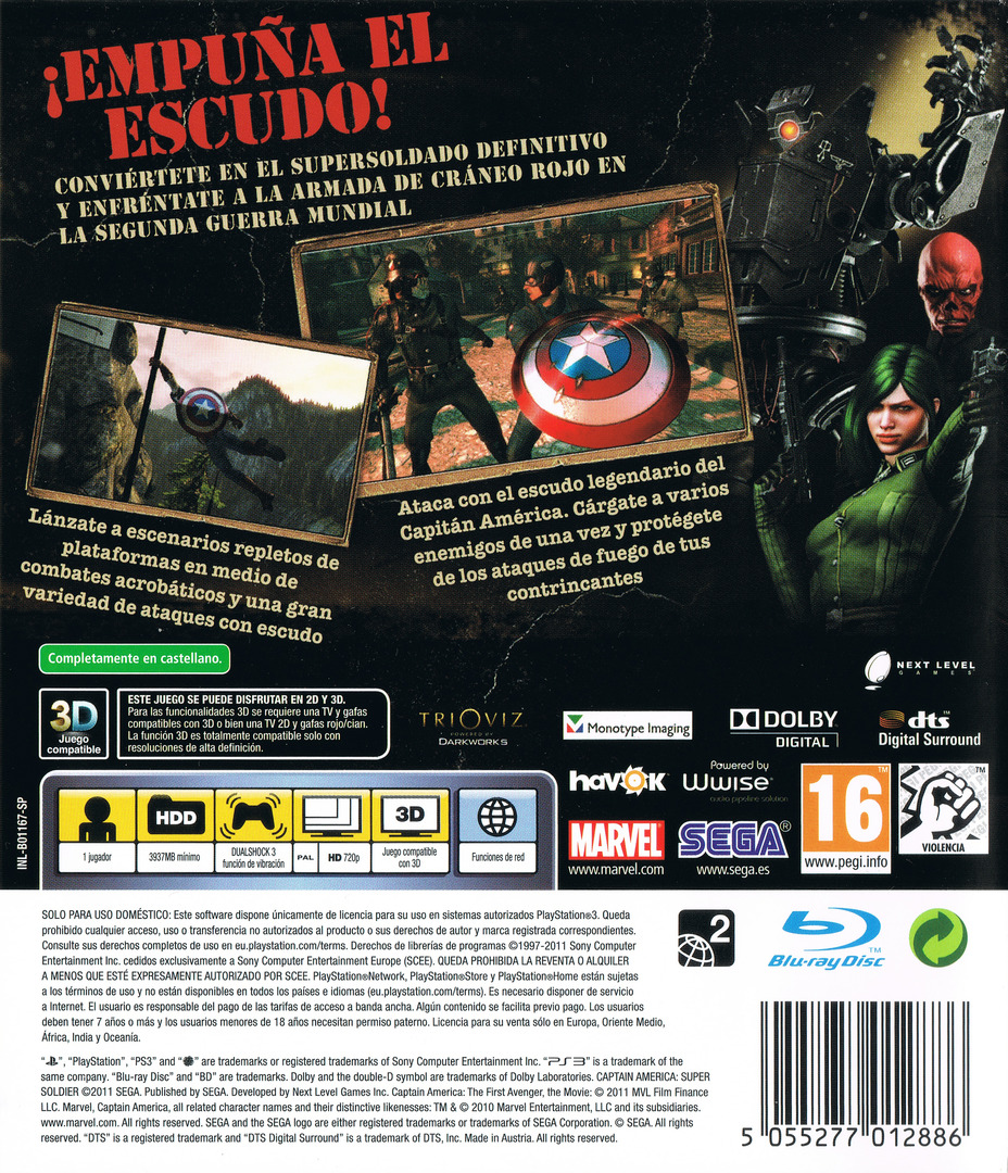 Capitán América: Super Soldado PS3 backHQ (BLES01167)