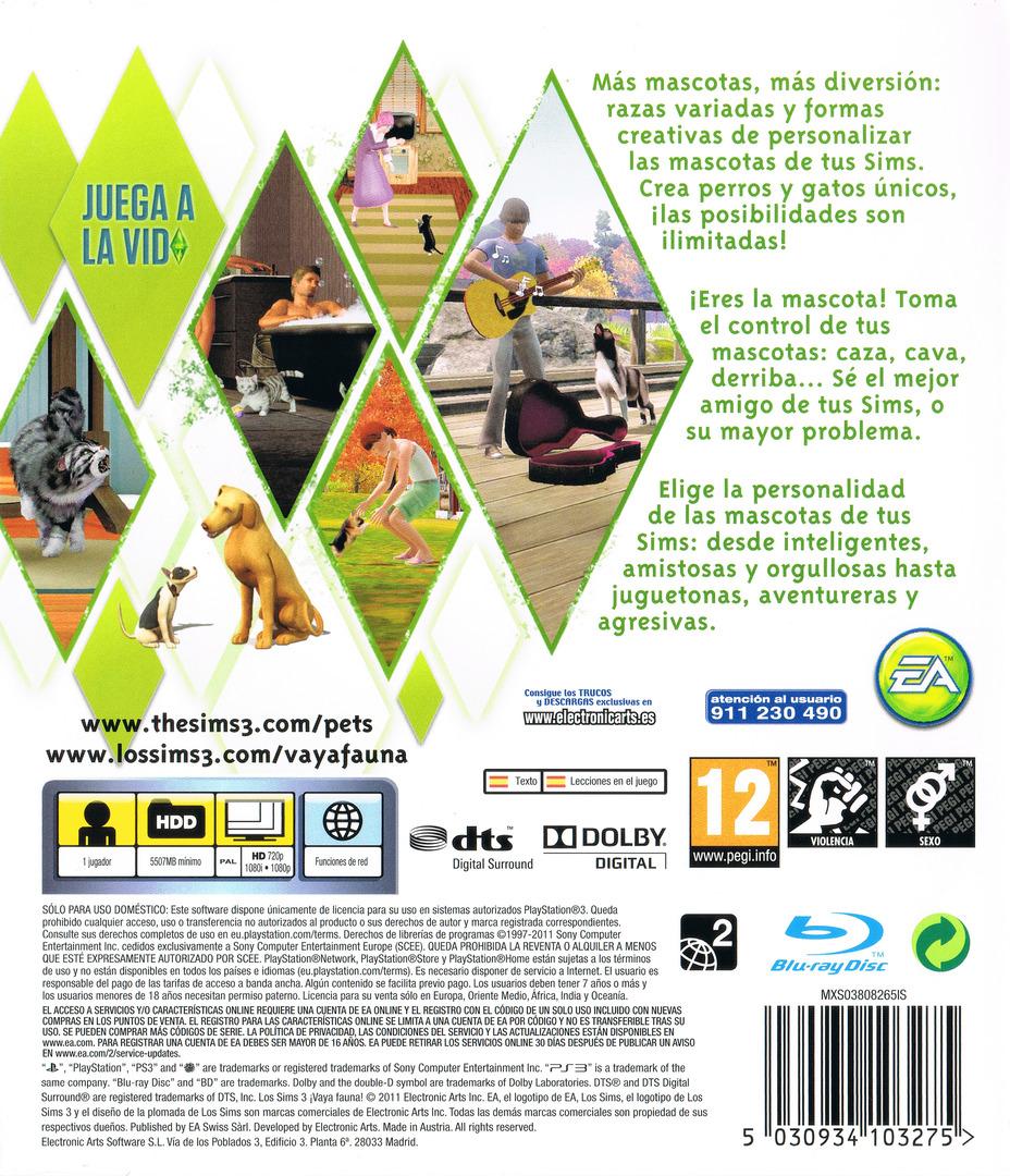Los Sims 3: ¡Vaya Fauna! PS3 backHQ (BLES01368)