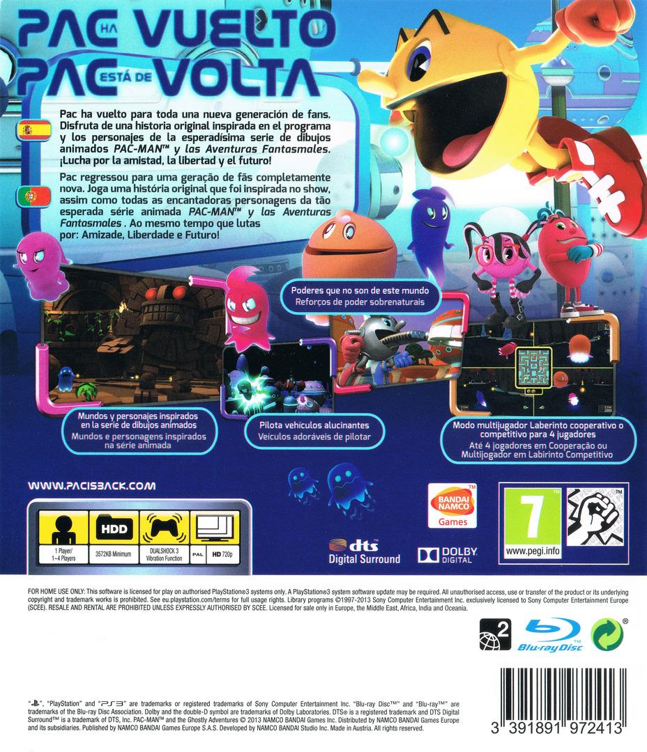 Pac-Man y las Aventuras Fantasmales PS3 backHQ (BLES01901)