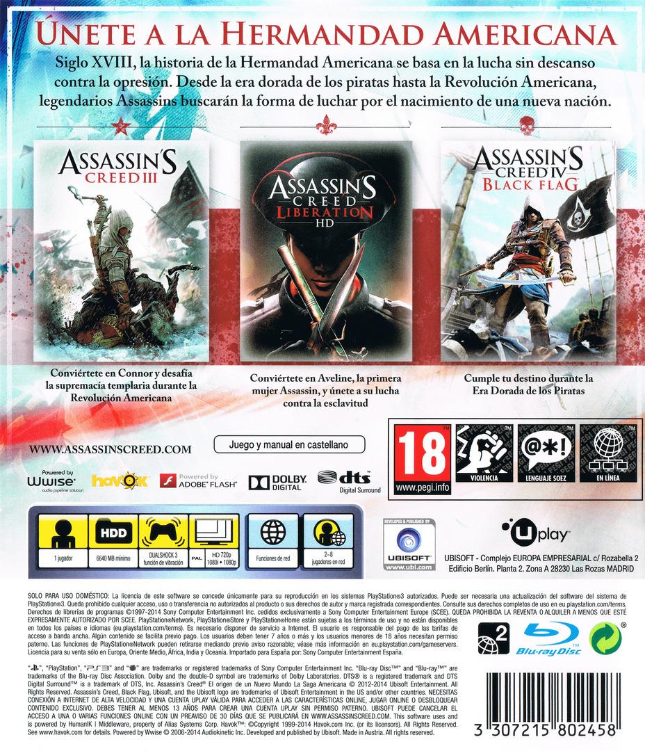 Assassin's Creed: El origen de un nuevo mundo - La Saga Americana PS3 backHQ (BLES02085)