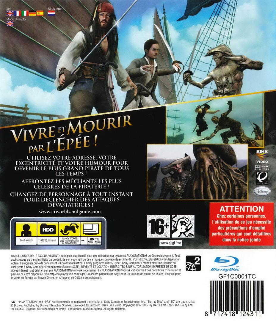 Pirates des Caraïbes:Jusqu'au Bout du Monde PS3 backHQ (BLES00066)